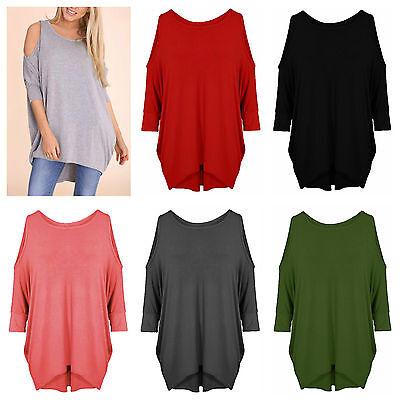 Ladies Batwing Cut Out Cold Should Plain Baggy Oversize Women Dress Top T-Shirt