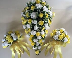Brides Bouquet And 2 Posies White And Yellow Roses Artificial