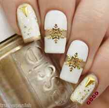 Christmas Nail Art Stickers Decals Gold Snowflakes Stars Gel Polish (101G)