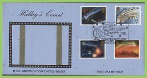 Conjunto-de-Graham-Brown-1986-Halley-cometa-en-Herstmonceux-castlel-primer-dia-cubierta-Hailsham