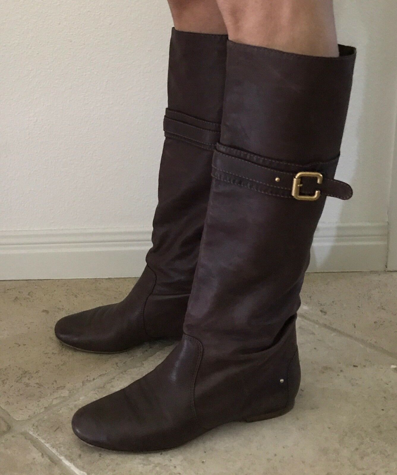 Chloe Boots Knee High Chocolate Brown Size 40