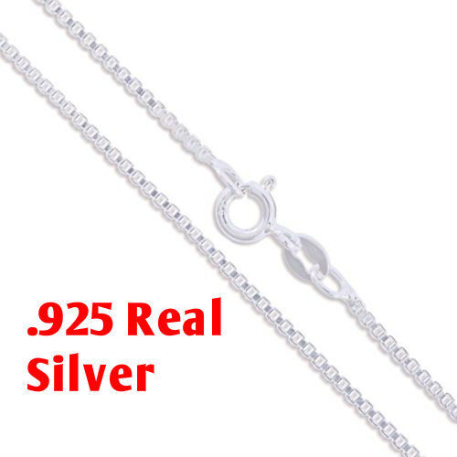 Sterling Silver BOX Chain Necklace 0.8mm Stamped 925 Italy Sterling Silver Box