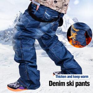 Men-039-s-Winter-Sport-Denim-Snow-Ski-Pants-Trousers-Windproof-Waterproof-Warm-Pants