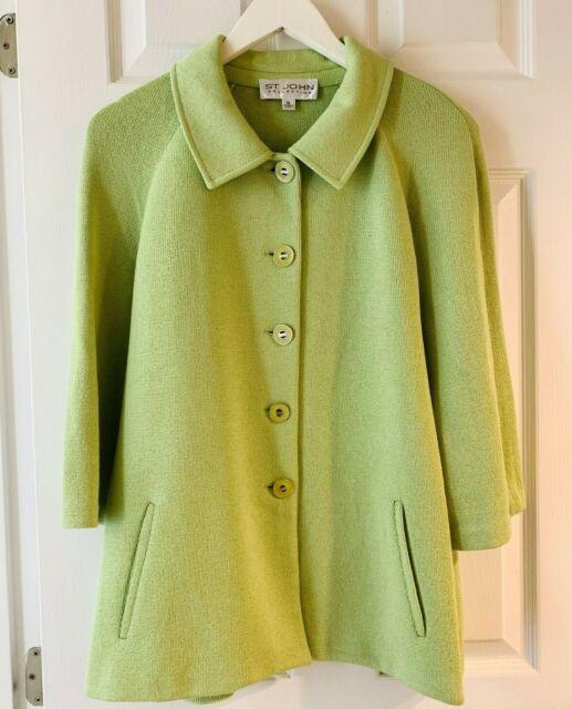 St John Collection jacket knit green jacket blazer size 10 knit wool blend