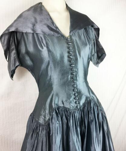 40s Natlynn Lbl Unique Dress Point Collar Scallope