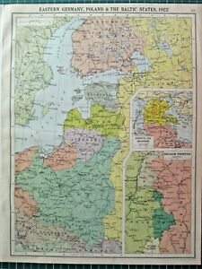 Details about HISTORICAL MAP EASTERN GERMANY POLAND & THE BALTIC STATES  1922 LATVIA LITHUANIA