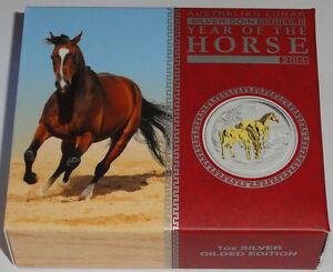 Australien-1-Oz-Silber-Lunar-II-Pferd-2014-gilded-im-Etui