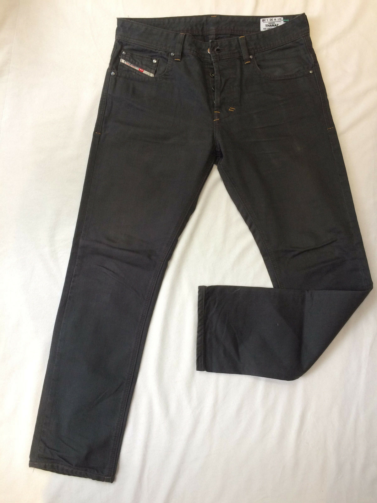 9011813e OUTSTANDING DIESEL THANAZ WASH 008TS TAPERED SLIM FIT BROWN JEANS SIZE 30  L30