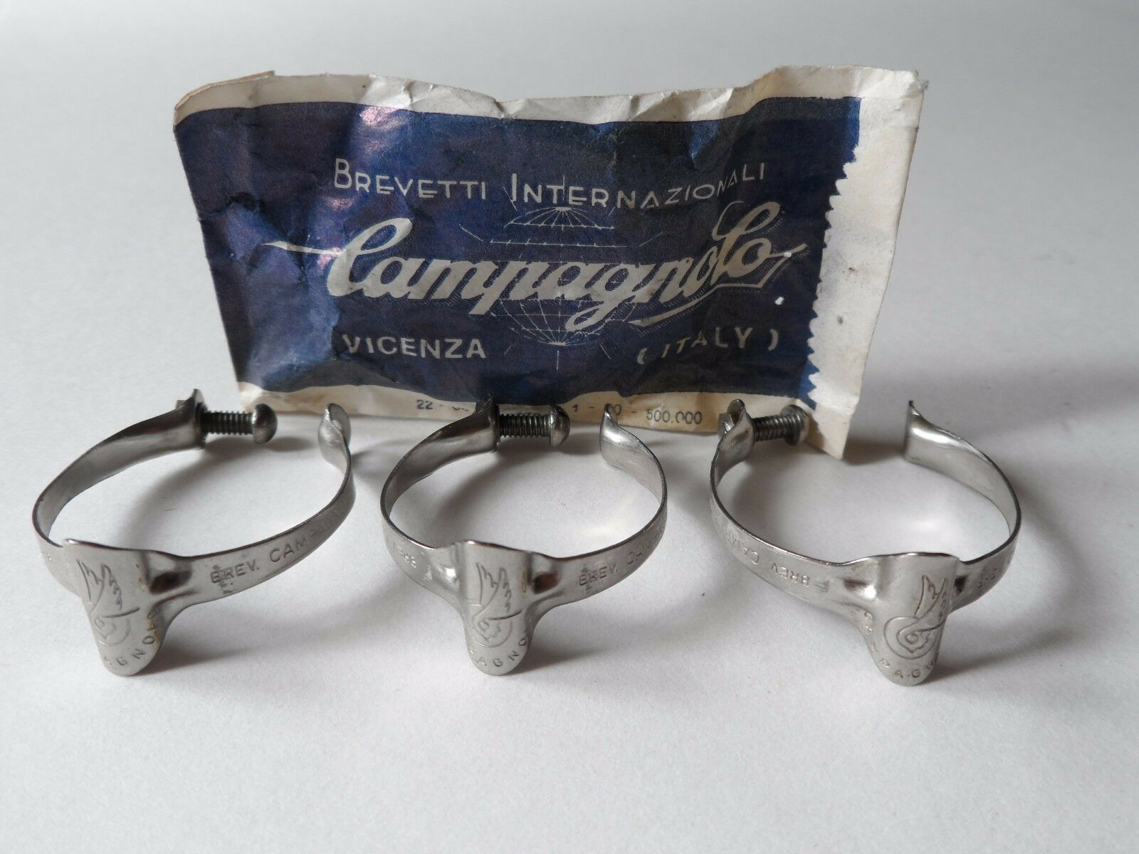 NOS Vintage 1970s Campagnolo Record top tube brake cable clips  (set of 3)  100% genuine counter guarantee
