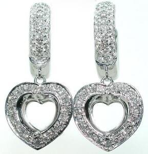 1-2-Ct-Heart-HALO-DIAMOND-Dangle-Mounting-Earrings-14KW