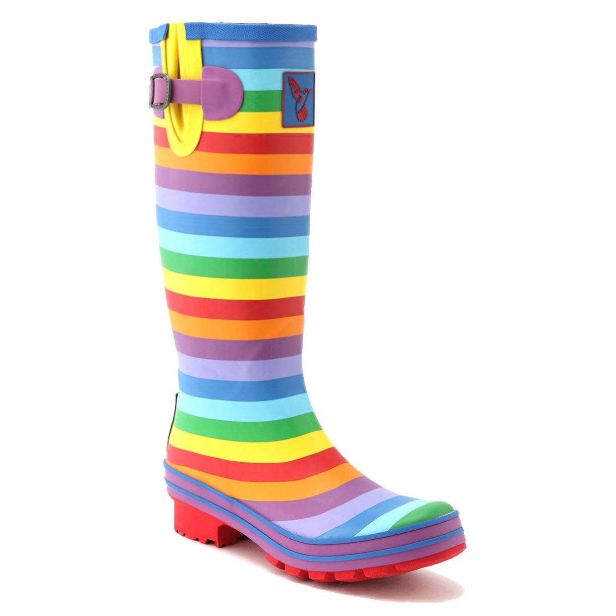 Women's High Quality Rainbow Rain Boot Knee-High Waterproof boots UK Brand