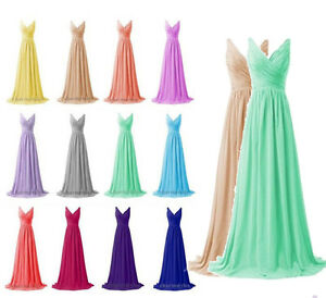 Plus-Size-Long-V-Neck-Chiffon-Prom-Evening-Bridesmaid-Dresses-Wedding-Party-Gown