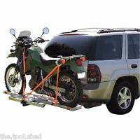 Hitch Receiver Mounted Aluminum Motorcycle Dirt Bike Carrier Trailer Rack W/ramp