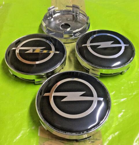 Negro Opel Tapa Centro De Rueda 60mm conjunto de 4 calcomanías insignia emblema