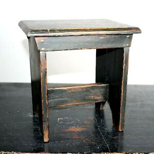 Vintage work stool or plant stand chippy carpenters rustic shed built footstool