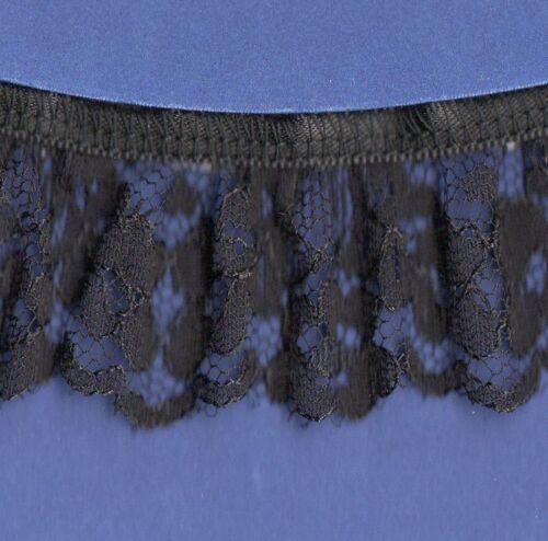 """5 Metres Frilled Gathered lace Black 35mm~1 3//8/"""" trimmings~SLFR0039."""