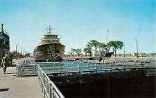 c1950s Modern Freighter in Lock, Sault Ste Marie, Michigan Postcard