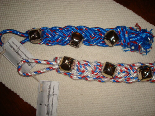 """Handcrafted Rope Dog Training POTTY BELLS Sleigh Bells 15/"""" 22/"""",30/"""" BLUE WHITE"""