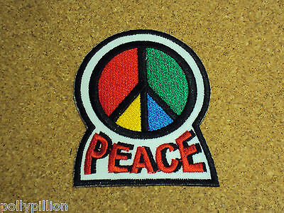 NOVELTY PEACE HIPPIE SEW//IRON ON PATCH:- C.N.D SYMBOLS PEACE ANTI-WAR 4