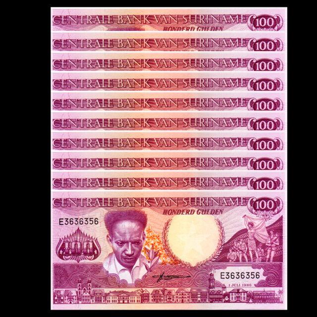 UNC 1986 Suriname 100 Gulden Lot 5 PCS P-133a