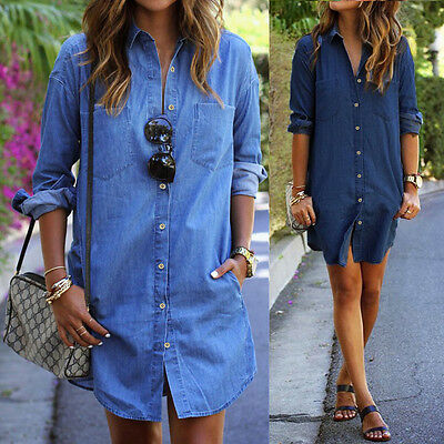 Women Long Sleeve Plus Size Denim Casual Jean Button Shirt Dress Short Dresses