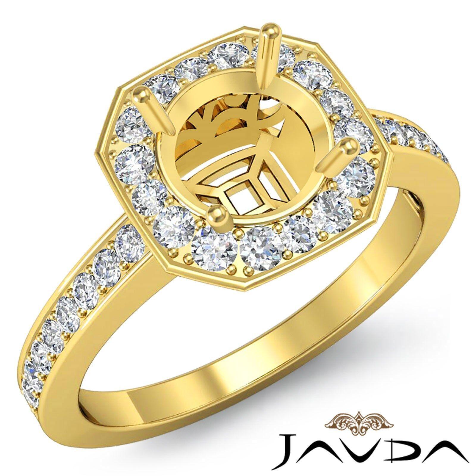 Halo Pave Set Round 0.37Ct Diamond Engagement Semi Mount Ring 18k Yellow gold