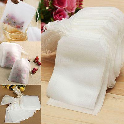 100pcs/Set Drawstring Teabags Empty Heat Seal Filter String Paper Tea Bags 7x5cm