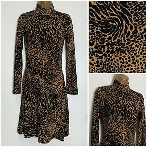 Warehouse-Animal-Print-Soft-Stretch-Jersey-Fit-amp-Flare-Dress-6-16-wh-2e