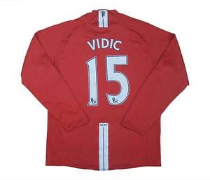 Manchester United 2007-09 Originale Home Camicia L/S VIDIC #15 (eccellente) M