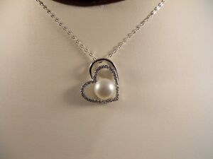 Italian-Sterling-Silver-Chain-Heart-Shape-Frame-With-Pearl-Pendant-Necklace