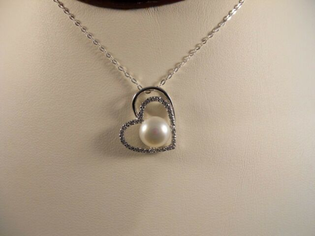 Italian Sterling Silver Chain, Heart Shape Frame With Pearl Pendant Necklace