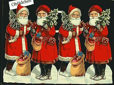 Realistisch # Glanzbilder # Alter Bogen Mit 4 Weihnachtsmännern l&b Oder Z&m ? Au Bäckerei
