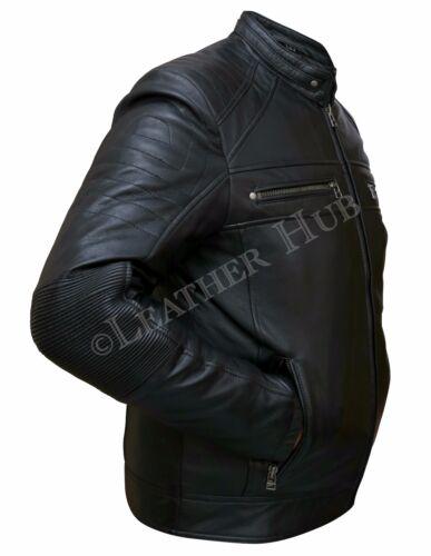 D'agneau Homme Cuir Slim En En Noir Fit V Veste Cuir Biker Ez7qwHdzxT