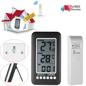 LCD-Digital-Wireless-Indoor-Outdoor-Thermometer-Clock-Temperature-Meter