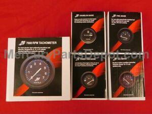 6K Tach temp trim Mercury Outboard Analog Gauge Set Black w//p fuel volt