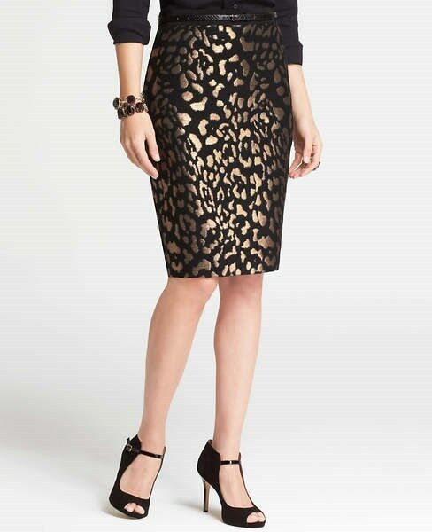 Ann Taylor Bronze Animal Jacquard Skirt NWT  Org.  98.00 Free Shipping  (IN)
