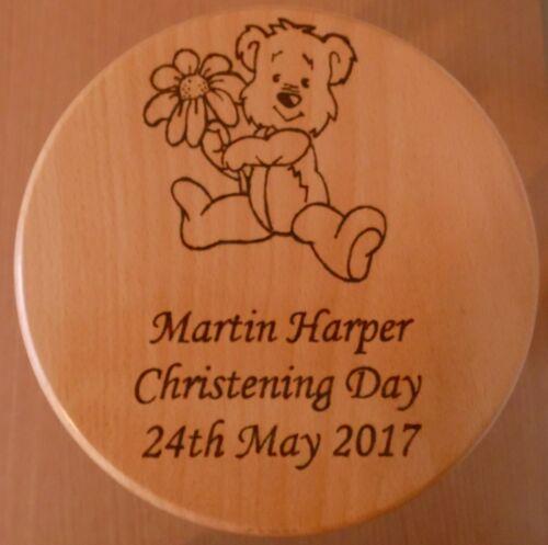 Teddy Personalised Hardwood Child/'s Wooden Stool