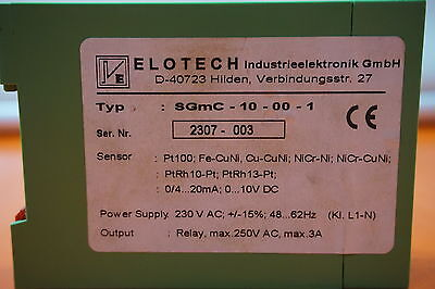 Details about  /Elotech SGmC-10-00-1 Limit Monitor Grenzwert-überwacher