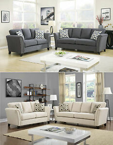 Image Is Loading Contemporary Design 2 Colors Gray Ivory Living Room