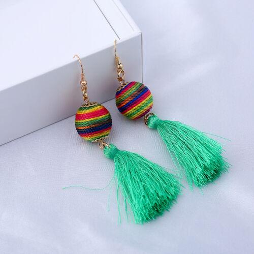 Tassel Earrings Fashion Women Statement Feather Dangle Drop Earrings Boho Earbob