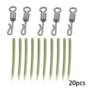 20pc-Carp-Fishing-End-Tackle-lead-clips-Quick-Change-swivels-Anti-Sleeves