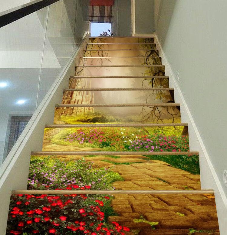 3D castle forest flower Risers Decoration Photo Mural Vinyl Decal Wallpaper CA