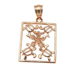 SOLID 14K WHITE GOLD HONU TURTLE PINK ROSE GOLD PLUMERIA FLOWER HAWAIIAN PENDANT