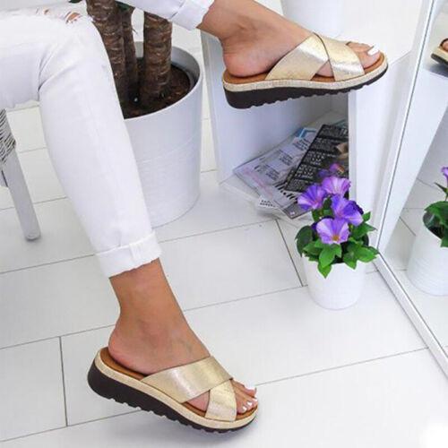 Women Leather Beach Slip On Wedges Sandals Ladies Flops Mule Slipper Shoes Size