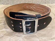 Jay Pee Police Military Duty Belt Black Plain Leather Nickel 28