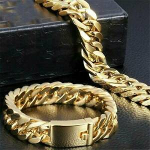 Men-039-s-Heavy-Solid-Stainless-Chunky-Bracelet-Cuban-Curb-Link-Chain-Gold-Tone-14mm