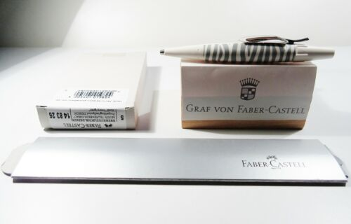 FABER CASTELL E-MOTION BALLPOINT ZEBRA IVORY GRAY  BOXED STICKER NEW GERMANY