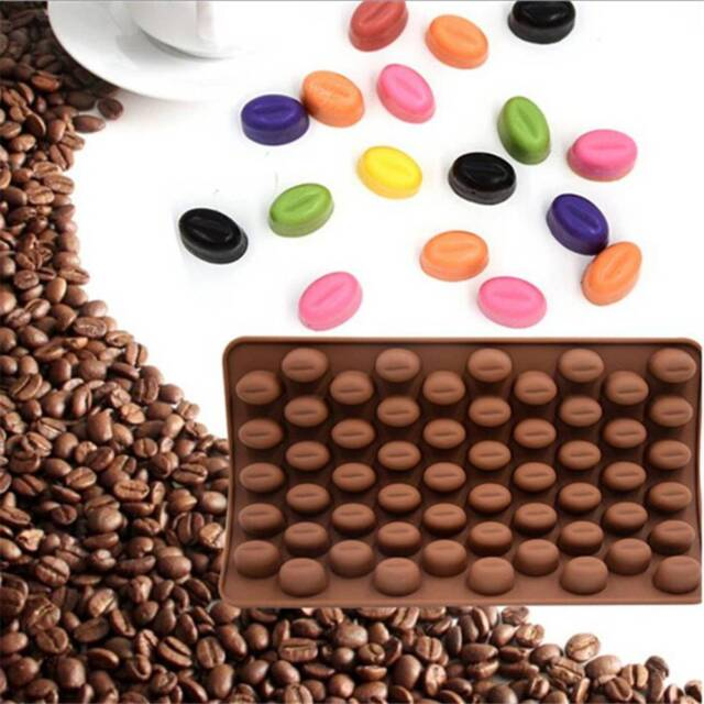 Candy Mold Mould Cake Decor Silicone 55 Cavity Mini Coffee Beans Chocolate Sugar