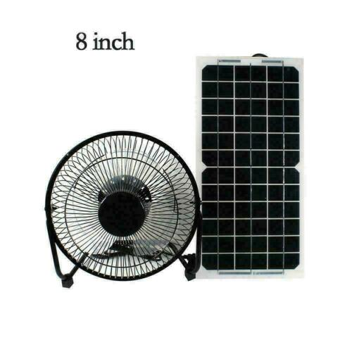 "10W 12V Solar Panel 6/""//8/"" Fan Gewächshaus Outdoor Chickhouse Ventilator Car P1Y0"