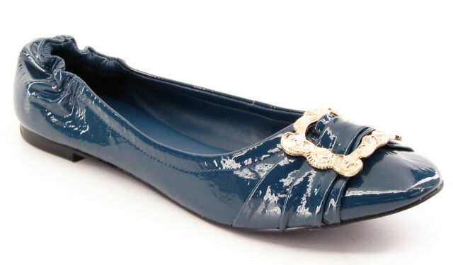 New CARLOS Flat SANTANA Damens Braun Blau Patent Leder Flat CARLOS Slip On Schuhe 26f830